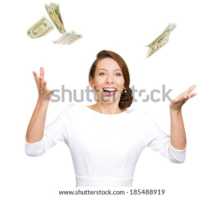 Closeup portrait excited, young woman who just won lots of money, trying to catch, throw dollar bills in air, isolated white background, clipping path. Positive emotion, facial expression, feelings - stock photo