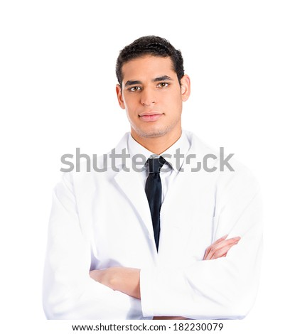 Closeup portrait  friendly, happy, confident male healthcare professional, dentist, doctor, nurse, assistant, pharmacist isolated white background. Positive human face expressions, emotions, attitude. - stock photo