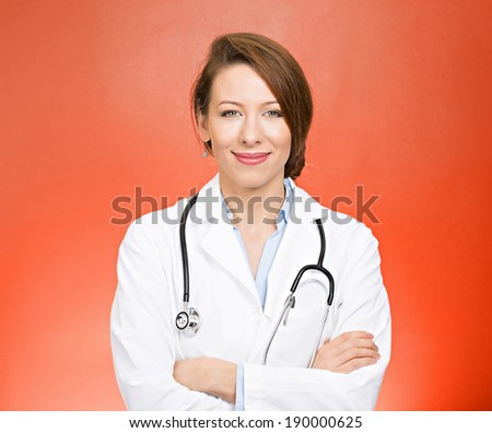 Closeup portrait friendly, smiling, confident female doctor, health care professional, arms crossed with stethoscope, isolated red background. Patient visit. Positive human facial expression - stock photo