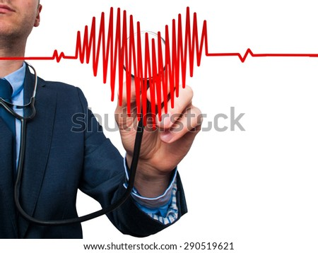 Closeup portrait handsome business man, male corporate employee, worker listening to  heart with stethoscope isolated on white background. Preventive medicine, financial condition check-up concept