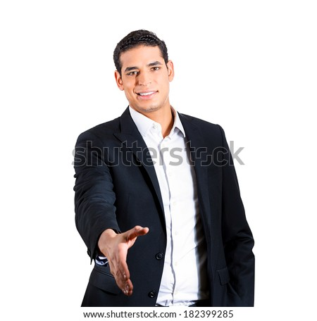 Closeup portrait handsome happy smiling young business man, confident student, entrepreneur, giving handshake, isolated white background. Positive face expressions, emotions, feelings, attitude - stock photo