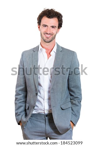 Closeup portrait handsome, successful, happy, young business man, confident grad student, entrepreneur in gray suit, isolated white background. Positive face expressions, emotions, feelings, attitude. - stock photo
