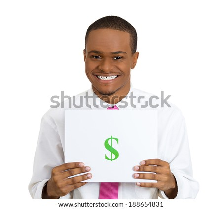 Closeup portrait, handsome, super excited, happy, business man with pink tie, holding a green dollar sign on blank slate, isolated white background. Positive human emotion facial expression feelings. - stock photo