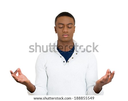 Closeup portrait, handsome, young man, eyes closed in meditation zen mode, isolated white background. Stress relief techniques concept. Positive human emotions, facial expression sign, feelings - stock photo