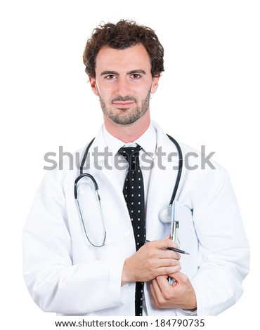 Closeup portrait happy, confident, casual healthcare professional, dentist, scientist, researcher, doctor, nurse with clipboard and pen in hand, isolated white background. Patient care - stock photo