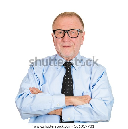 Closeup portrait happy, confident, cheerful, smiling senior mature man in black glasses with arms crossed, isolated white background. Positive human emotion, facial expressions, feelings, attitude - stock photo