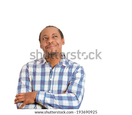 Closeup portrait happy, smiling guy, young handsome man, looking upwards dreaming, pondering, remembering good times, isolated white background. Positive human emotions, facial expression, feelings - stock photo