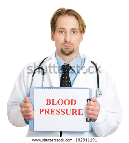 Closeup portrait happy smiling male health care professional, man family doctor cardiologist with stethoscope holding sign blood pressure, isolated white background. Patient treatment, plan visit - stock photo