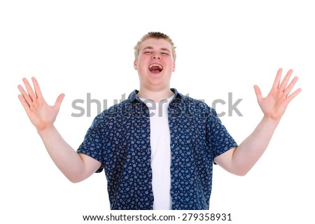 Closeup portrait happy young man 20-25 years, worker, employee, business man hands in air, open mouth yelling isolated on white background. Positive human emotion, facial expression - stock photo