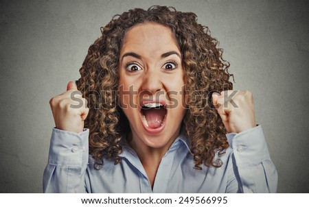 Closeup portrait headshot angry young woman having nervous breakdown screaming isolated grey wall background. Negative human emotion facial expression feeling attitude - stock photo