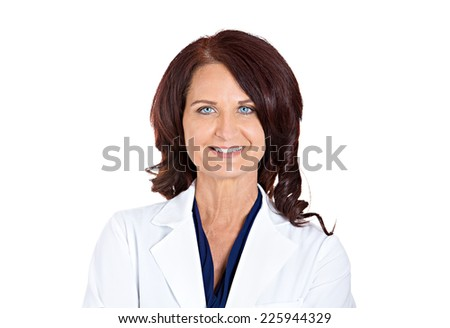 Closeup portrait headshot confident happy smiling female doctor pharmacist researcher isolated on white background. Positive face expressions. Healthcare plan, insurance, reform, patient care concept - stock photo