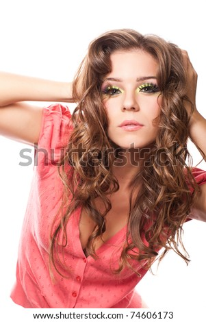 closeup portrait in studio of attractive caucasian woman - stock photo