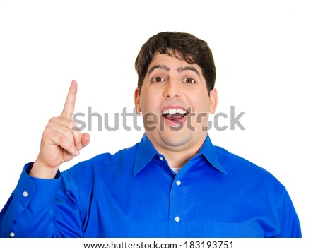 Closeup portrait, intelligent daydreaming young man who just came up with an idea aha, isolated white background. Positive emotion facial expression feeling, attitude, perception, body language - stock photo