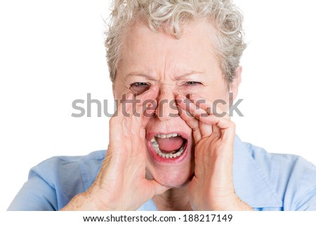 Closeup portrait, mad, angry, upset, hostile, senior mature woman, worker, furious employee, yelling, hands to open mouth, isolated white background. Negative emotions, facial expression reaction - stock photo