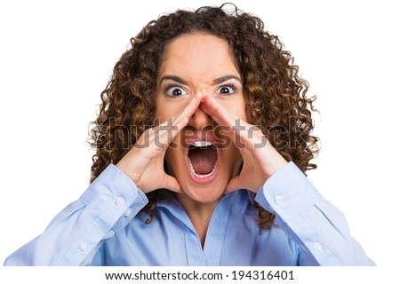 Closeup portrait, mad, angry, upset, hostile woman, worker, furious employee, yelling, screaming, hands to mouth isolated white background. Negative human emotions, facial expression reaction attitude - stock photo