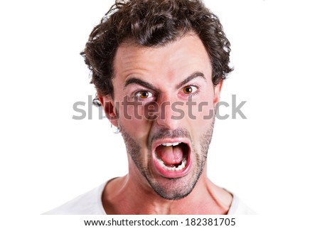 Closeup portrait mad, pissed off business man, employee, guy, screaming, irritated, upset about situation, outcome of his case, isolated white background. Negative human emotions, facial expressions