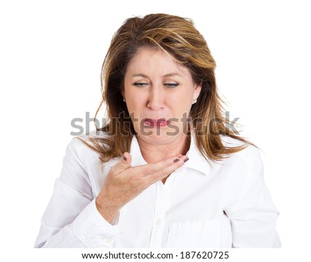 Closeup portrait, mature unhappy, annoyed, sick woman about to chuck, throw up, puke retch barf, hurl isolated white background. Negative emotions, feelings, facial expressions. Excessive drinking - stock photo
