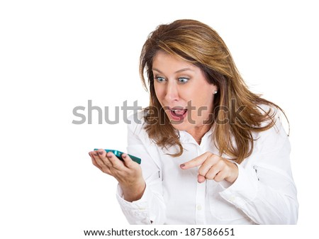 Closeup portrait middle age, mad, frustrated angry woman yelling while on phone, isolated white background. Negative human emotions, facial expressions, feelings. Communication, conflict resolution - stock photo