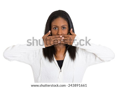 Closeup portrait middle aged woman covering closed mouth with hands open eyes. Speak no evil concept isolated white background. Negative human emotion facial expression sign symbol. Media news coverup - stock photo