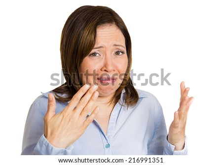 Closeup portrait middle aged woman disgusted by smell  looks displeased, something stinks, bad odor, situation, isolated white background. Human face expressions, body language, perception, senses  - stock photo