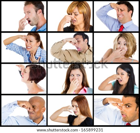 Closeup portrait multicultural ethnic collage men women boy girl closing, cover nose, something stinks, very bad smell, odor isolated on white background. Negative emotion, facial expression, feeling  - stock photo