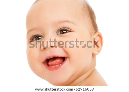 Closeup portrait of a baby boy laughing, isolated - stock photo