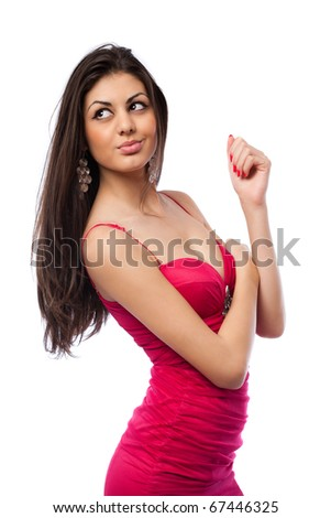 Closeup portrait of a beautiful hispanic woman in red dress, isolated on white background - stock photo