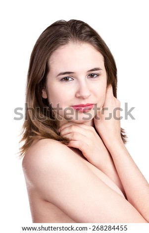 Closeup portrait of a beautiful naked young girl with hands at face isolated on white background - stock photo