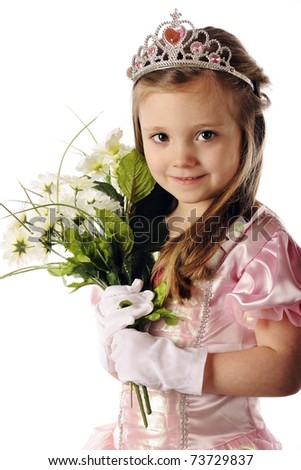 Closeup portrait of a beautiful preschool princes holding a bouquet of white flowers.  Isolated on white. - stock photo