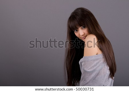 Closeup portrait of a beautiful woman - stock photo