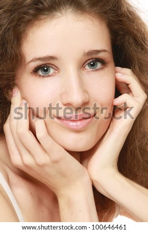 Closeup portrait of a beautiful woman's face
