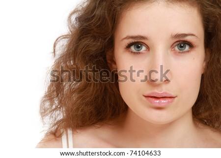 Closeup portrait of a beautiful woman's face - stock photo
