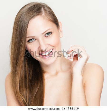 closeup portrait of a beautiful woman with beauty face and clean - stock photo