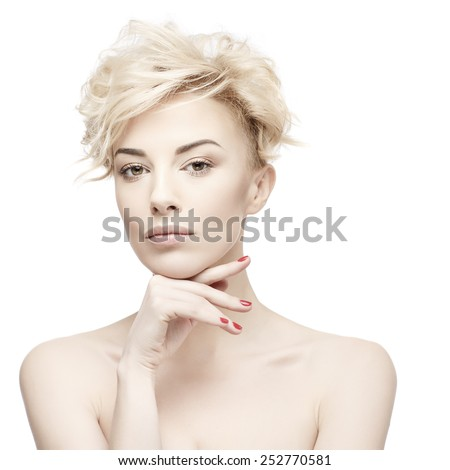 closeup portrait of a beautiful woman with beauty face and clean face skin