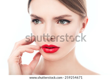 closeup portrait of a beautiful woman with beauty face and clean face skin , glamour makeup, green eyes - stock photo
