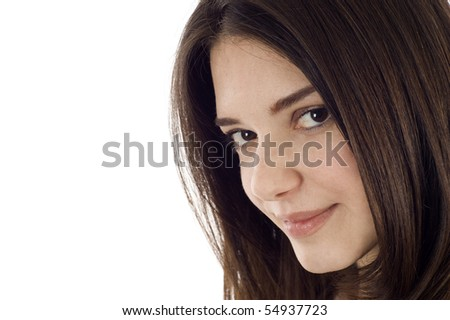 Closeup portrait of a beautiful woman with copyspace - stock photo