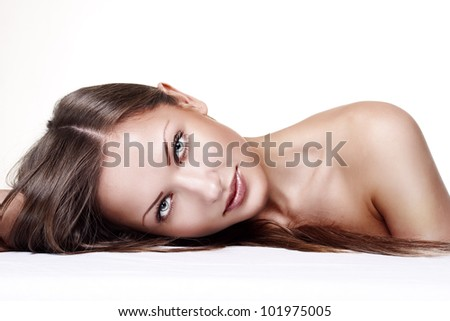 closeup portrait of a beautiful young fashion model - stock photo