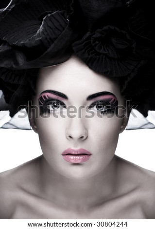 Closeup portrait of a beautiful young woman. Fashion art photo. Soft focus. Focus on eyes - stock photo