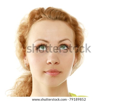 Closeup portrait of a beautiful young woman looking up, looking up, isolated on white - stock photo