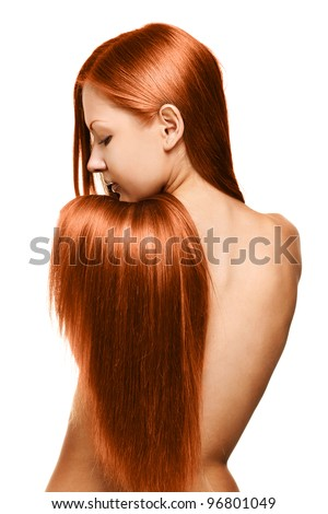 closeup portrait of a beautiful young woman with elegant long red shiny hair from back , hairstyle , isolated on white background , healthy straight hair - stock photo