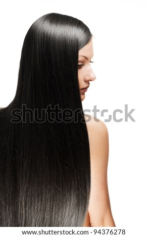 closeup portrait of a beautiful young woman with elegant long shiny hair from back , hairstyle , isolated on white background , healthy straight  hair - stock photo