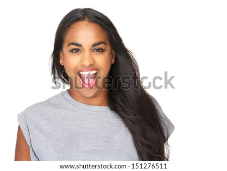 Closeup portrait of a beautiful young woman with surprised expression on face  - stock photo