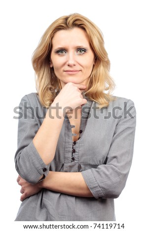 Closeup portrait of a blond businesswoman isolated on white background - stock photo
