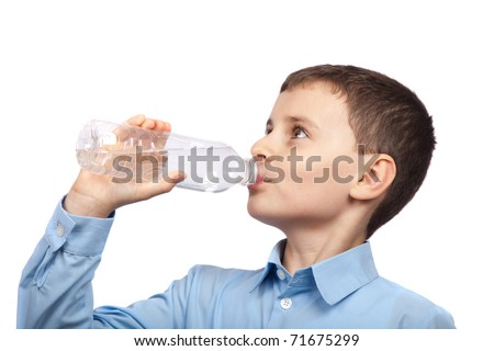 Closeup portrait of a boy drinking water, isolated on white background - stock photo