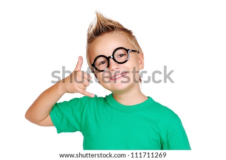 Closeup portrait of a boy making a call gesture - stock photo