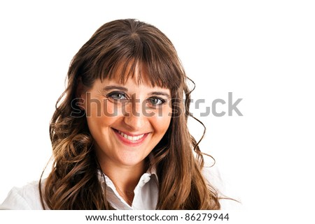 Closeup portrait of a charming young woman smiling against white background - stock photo