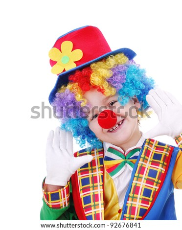 Closeup portrait of a child birthday clown over the white background - stock photo