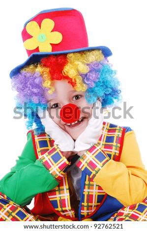 Closeup portrait of a clown - stock photo