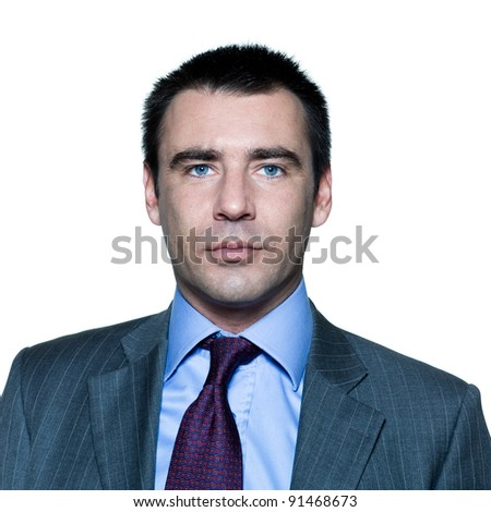 Closeup portrait of a confident handsome businessman in studio on isolated white background - stock photo