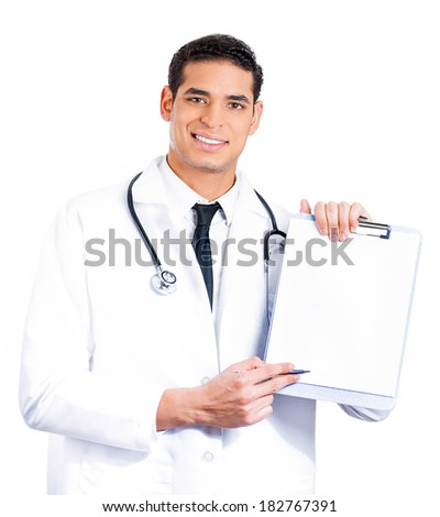 Closeup portrait of a confident male health care professional, doctor, nurse holding clipboard up, showing space for text, isolated on white background. Patient consent, plan. Health care reform - stock photo